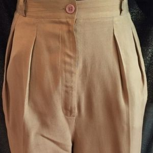 100% silk pleated front tan pants